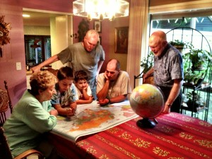 Showing grandparent the itinerary