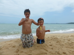 Playing on the beach in Koh Samui