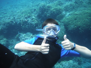 Studying underwater life in Bali
