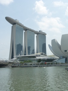 Marina Bay Sands Tower with the Lotus Flower Shaped Art Science Museum