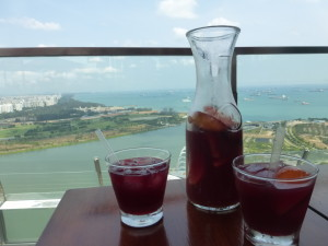 Sangria overlooking the city.