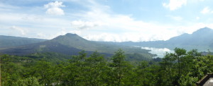 View at breakfast overlooking Mt. Batur and Batur Lake