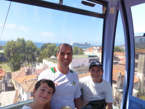 My family in the cable car up to the Monte