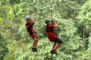 Ziplining in Thailand with my brother
