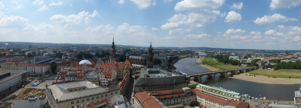 Dresden, view from the top of the rebuilt Frauenkirche.