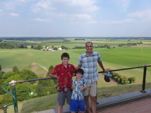 On the Lion's Mound, looking over the field where the battle of Waterloo took place in Belgium. 300,000 men and 7 countries fought in this battle.