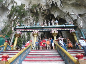 Batu Caves in Kuala Lumpur with new friends from Texas