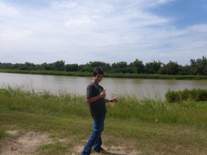 Me in front of the Mississippi River, Vicksburg, MS