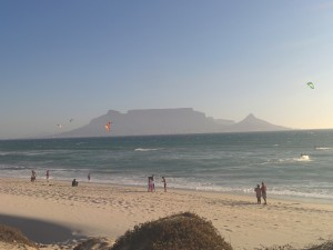 Kite Surfers in front of Table Mountain